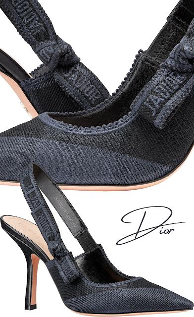 Black & Blue Dior J'Adior embroidered Check'N'Dior slingback pumps #brilliantluxury