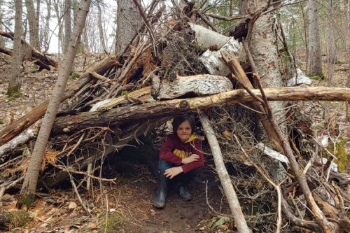 Log tepee in the woods