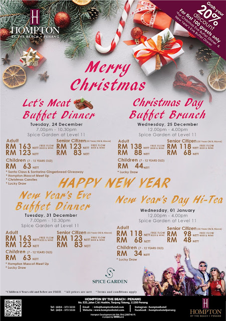 Christmas Buffet 2019 & New Year 2020 @ Hompton By The Beach, Penang