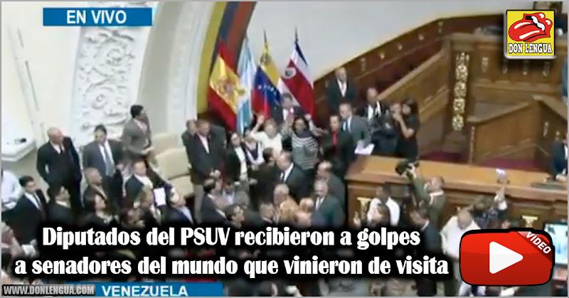 Diputados del PSUV recibieron a golpes a senadores del mundo que vinieron de visita