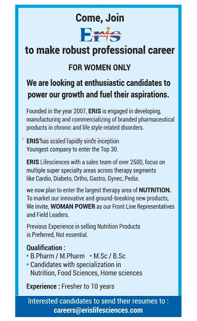 pharma4u: Vacancy for Woman\'s only at Eris; Apply Now