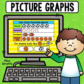 Digital math game for graphing where kids answer questions about the graph by looking at the pictures