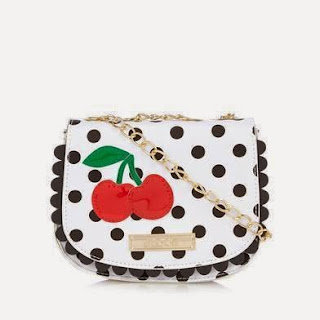 Floozie by Frost French White spotted cherry saddle cross body bag