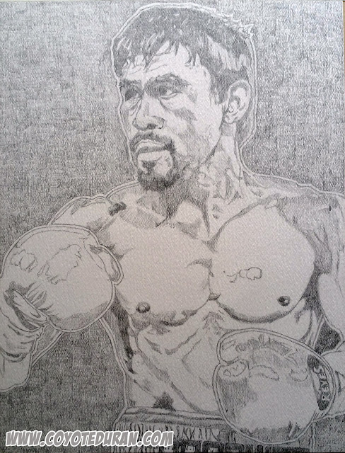 "Manny Pacquiao, pencils on 11"" X 14"" cold press watercolor paper, prior to watercolor paint and ink stage. Boxing art by Coyote Duran"