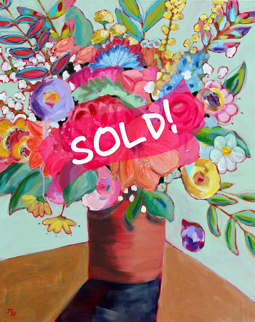 Dazzle Me mixed media floral painting by Merrill Weber has sold