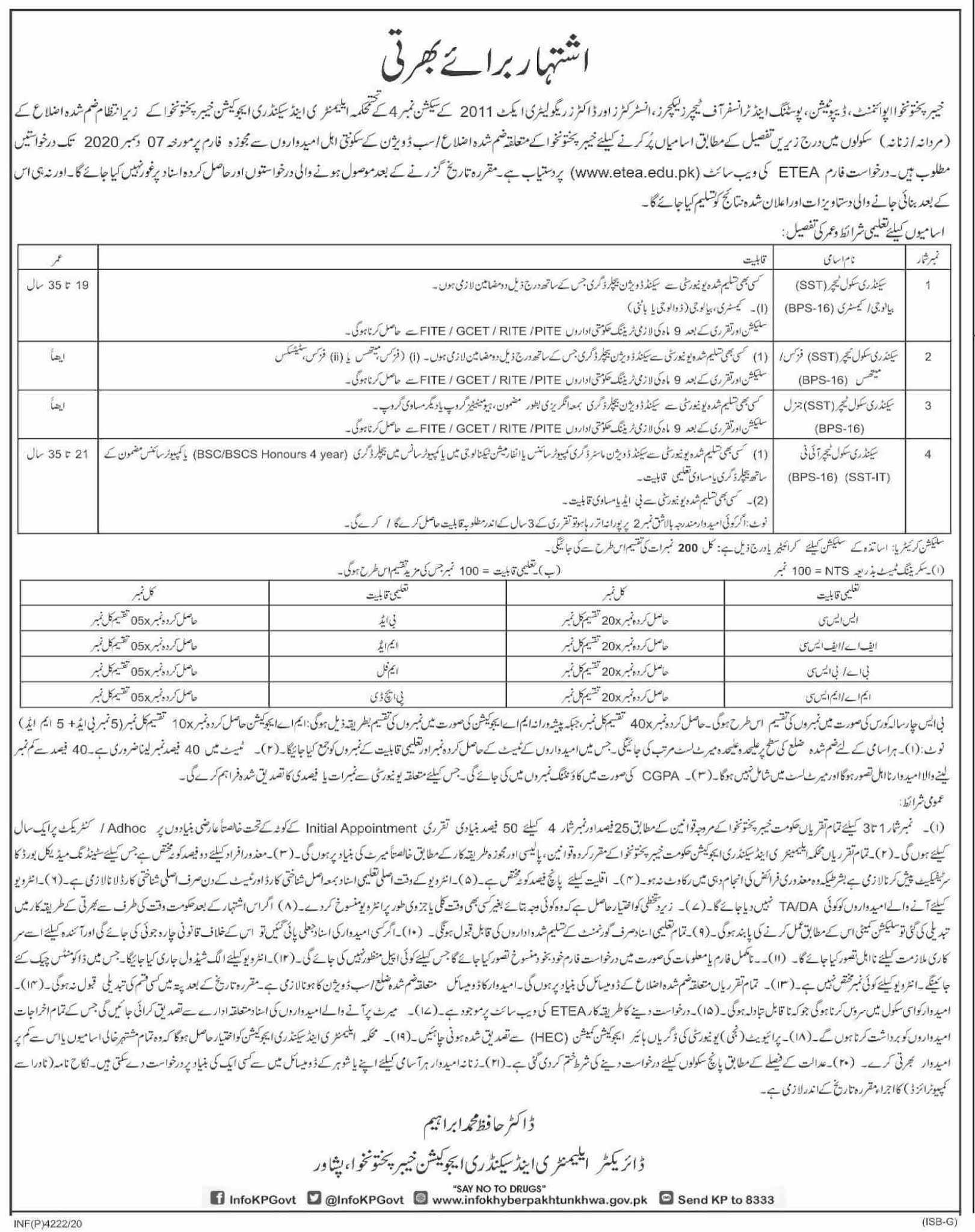 Elementary & Secondary Education Department Latest Govt Teaching Jobs in Pakistan - Download Job Application Form - www.etea.edu.pk Jobs 2021