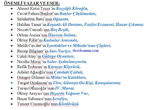 1950-1980 Yılları Arasında Cumhuriyet Dönemi tiyatro eserleri