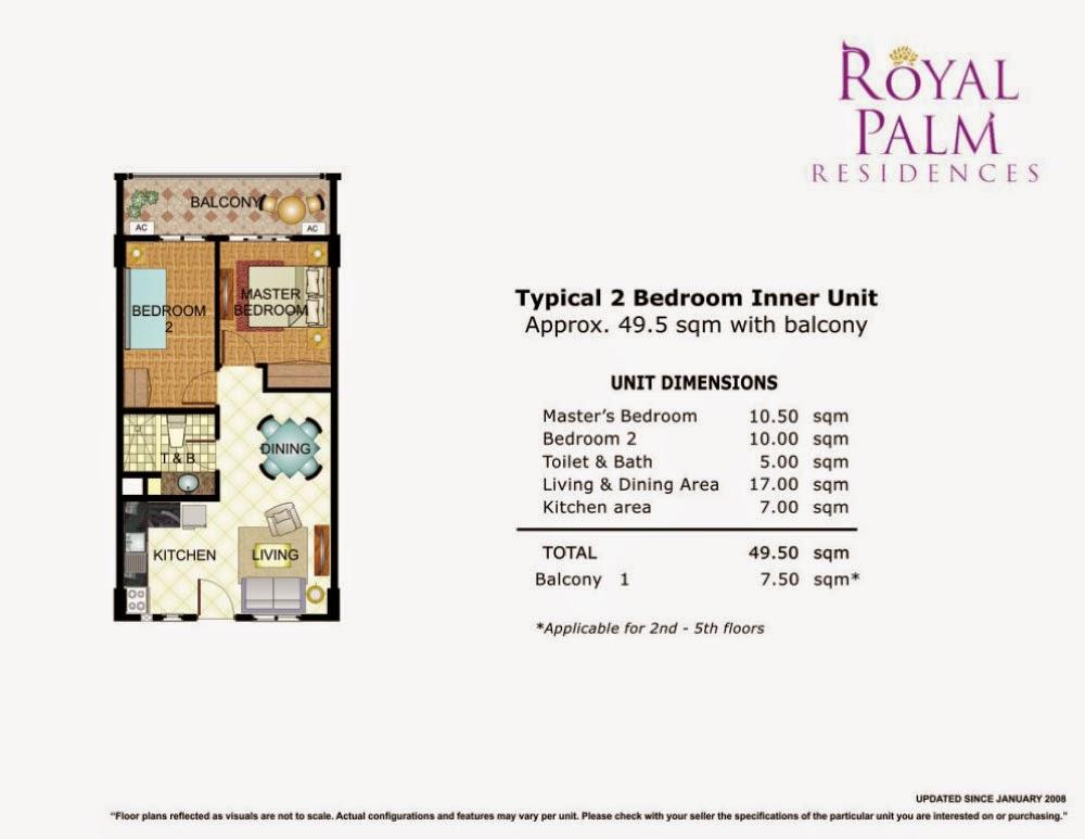 Royal Plam Residences - 2 Bedroom Unit 49.50 sqm.