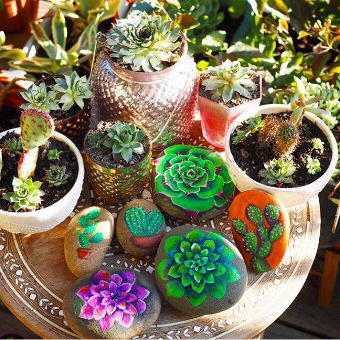watercolor succulents and cacti painted on rocks