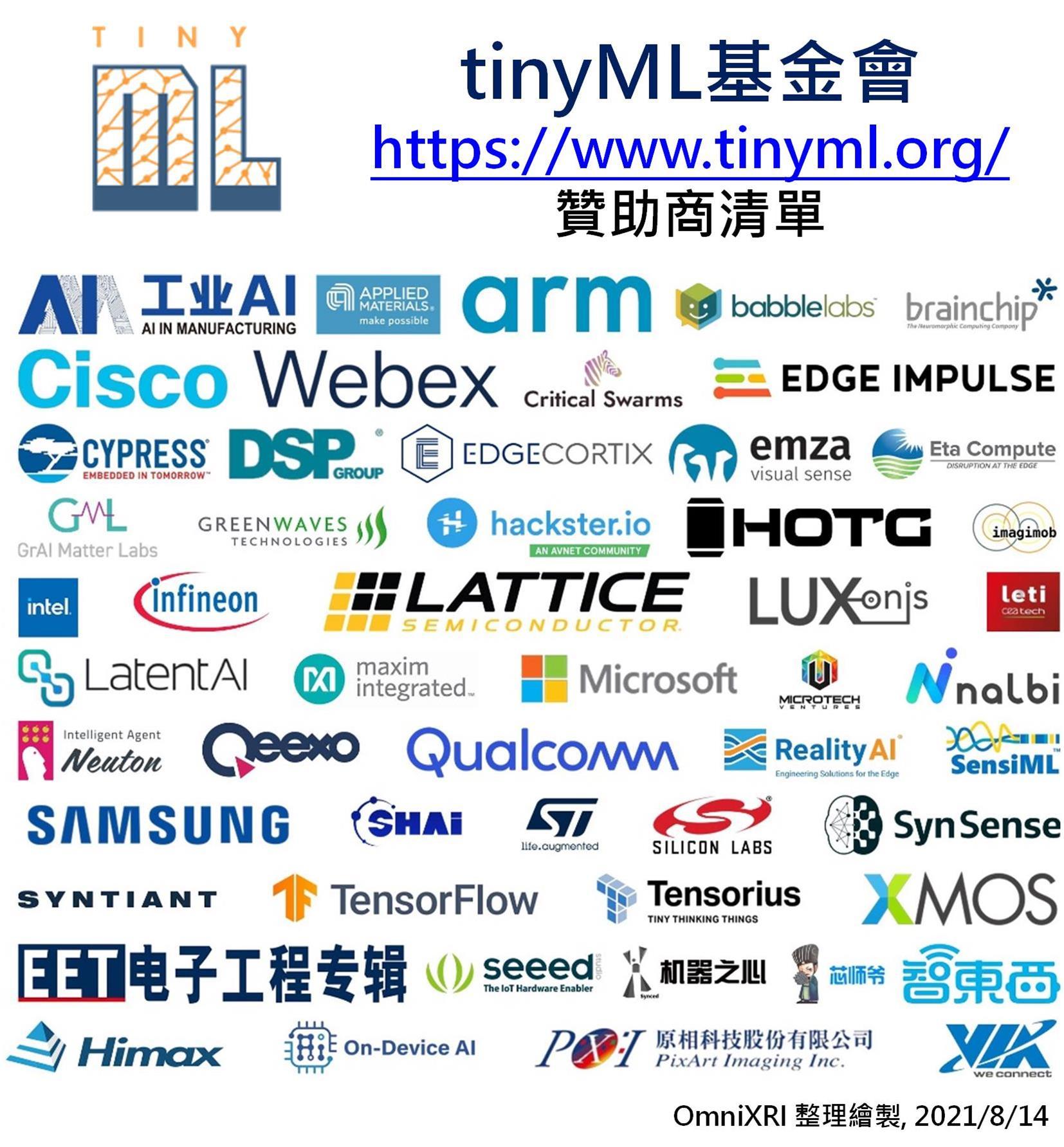 tinyML基金會2021贊助商清單