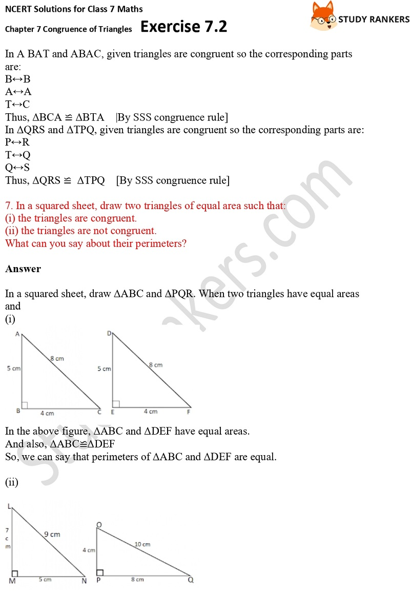 NCERT Solutions for Class 7 Maths Ch 7 Congruence of Triangles Exercise 7.2 5