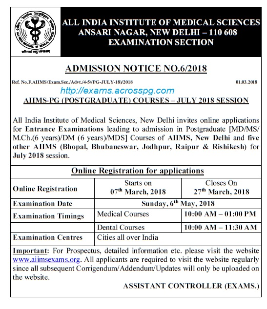 AIIMS PG Entrance July 2018 session notification