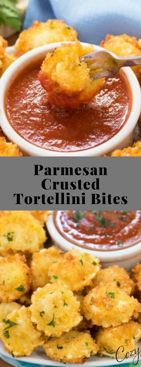 Parmesan Crusted Tortellini Bites #appetizer