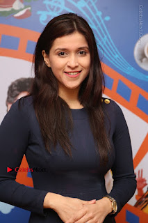 Actress Mannara Chopra Stills in Blue Short Dress at Rogue Song Launch at Radio City 91.1 FM  0017.jpg