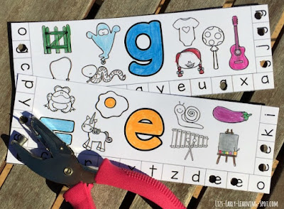 These alphabet punch cards are terrific for practicing letter recognition and beginning sounds while working those fingers. A-H are free!
