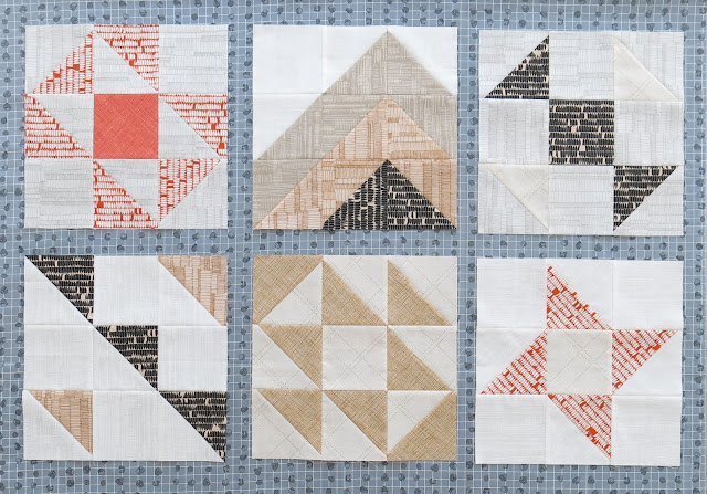 HST Quilt-Along - 6 first blocks - Auditioning a sashing fabric - Grey