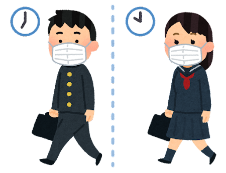 時差通学のイラスト(中学校・高校)