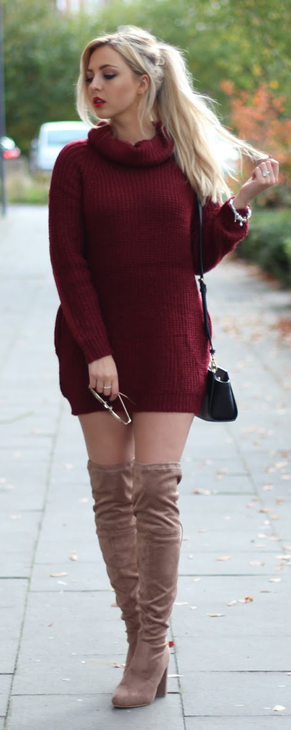 knee-high boots with dress sweater