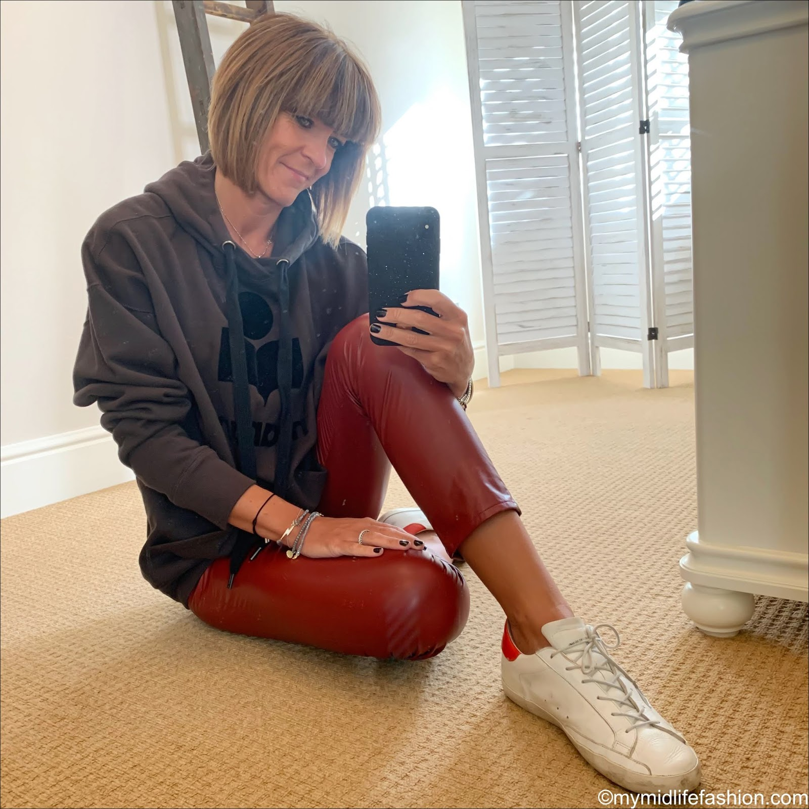 my midlife fashion, Isabel Marant Etoile hooded sweatshirt, Isabel Marant Etoile faux leather trousers, golden goose superstar low top leather trainers