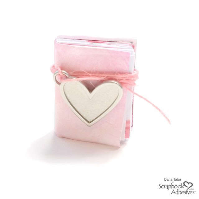 Handmade Secret Message Mini Book with Pink Cover and Silver Heart Charm for Valentine's Day