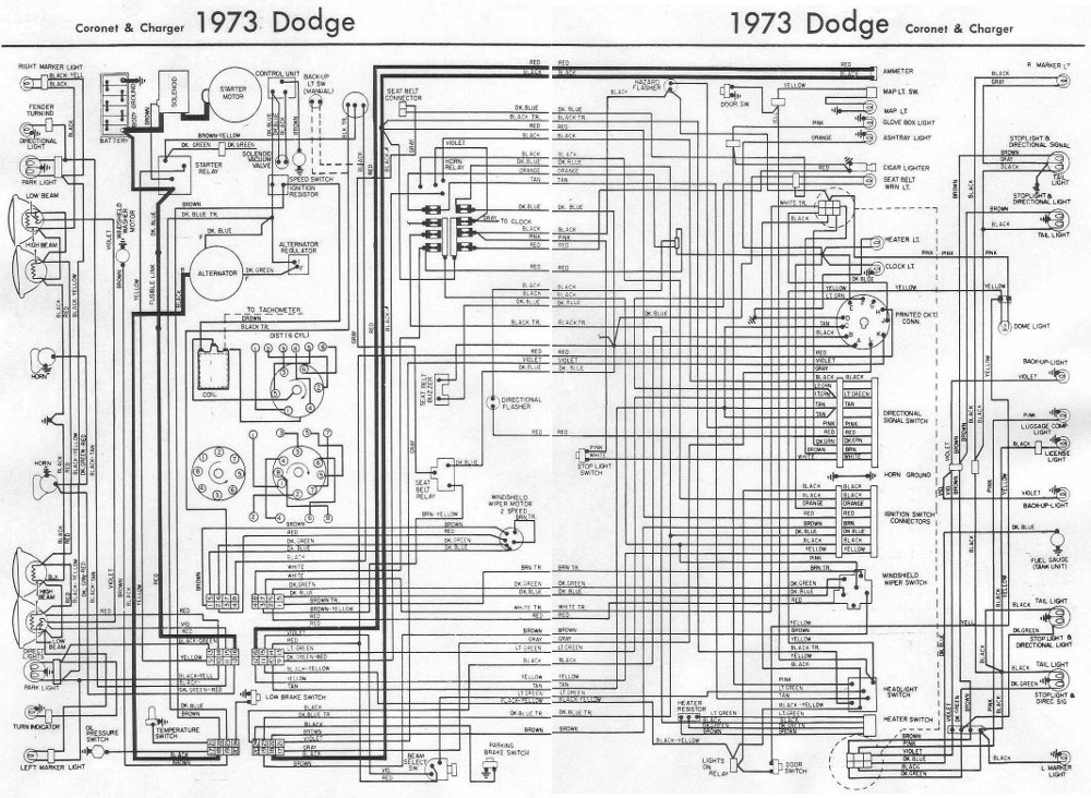 Dodge Coro and Charger 1973 Complete Wiring Diagram