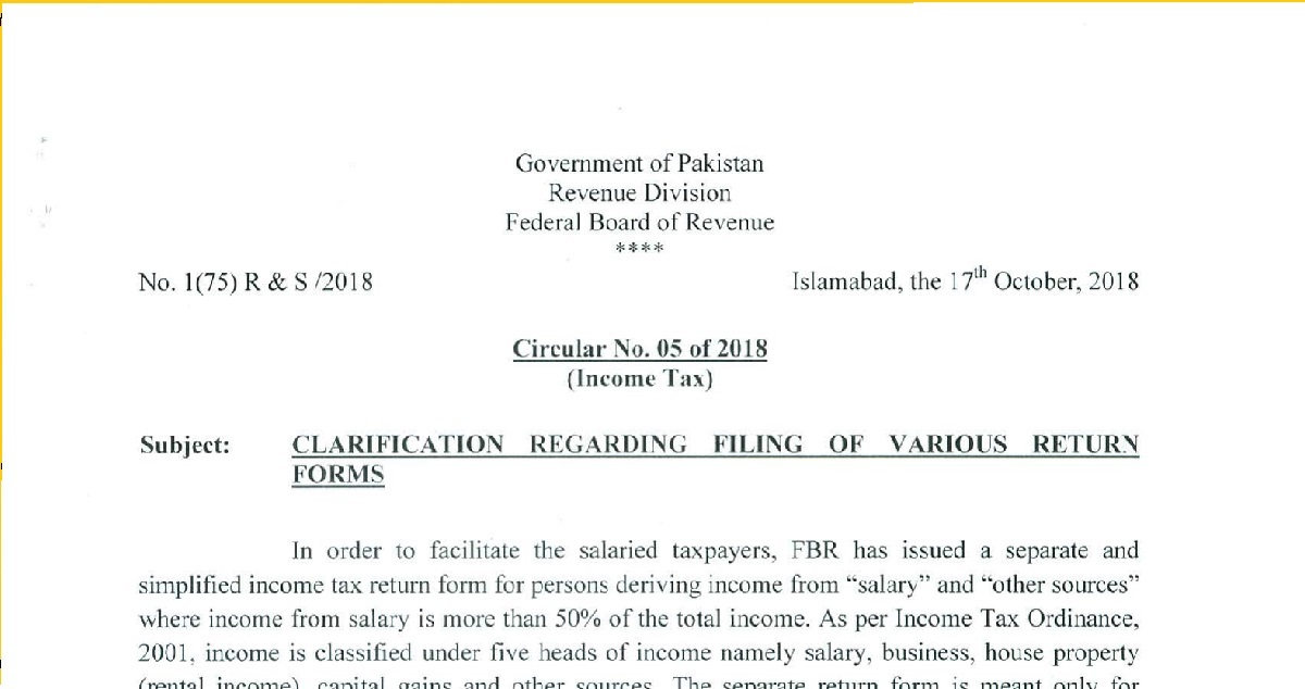 Circular No 05 Of 2018 Income Tax Clarification Regarding