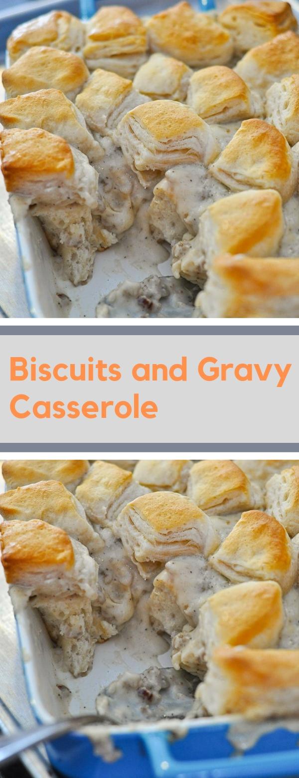 Biscuits and Gravy Casserole #BREAKFAST #CASSEROLE