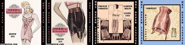 vintage 1920s ,1940s, 1950s corset girdle sewing patterns