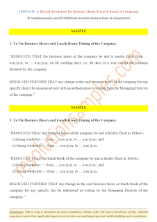 Board Resolution for Business Hours & Lunch Break of Company