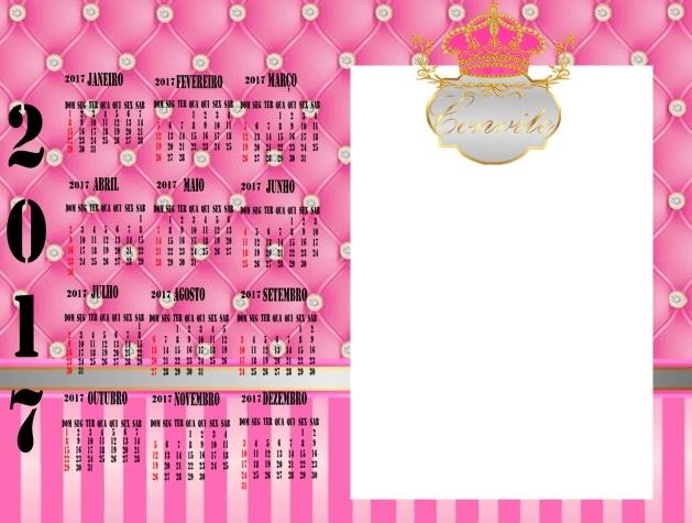 Calendario 2017 para imprimir gratis de Corona Dorada en Fondo Rosa con Brillantes.