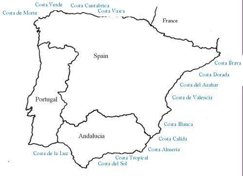 Costa De Azahar Spain Map.Spanish Coast Which Costa Is Where