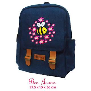 tas ransel bahan jeans, aplikasi bordir, produsen tas bogor, tas ransel laptop