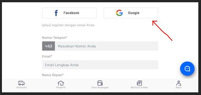 Daftar seva menggunakan akun Google