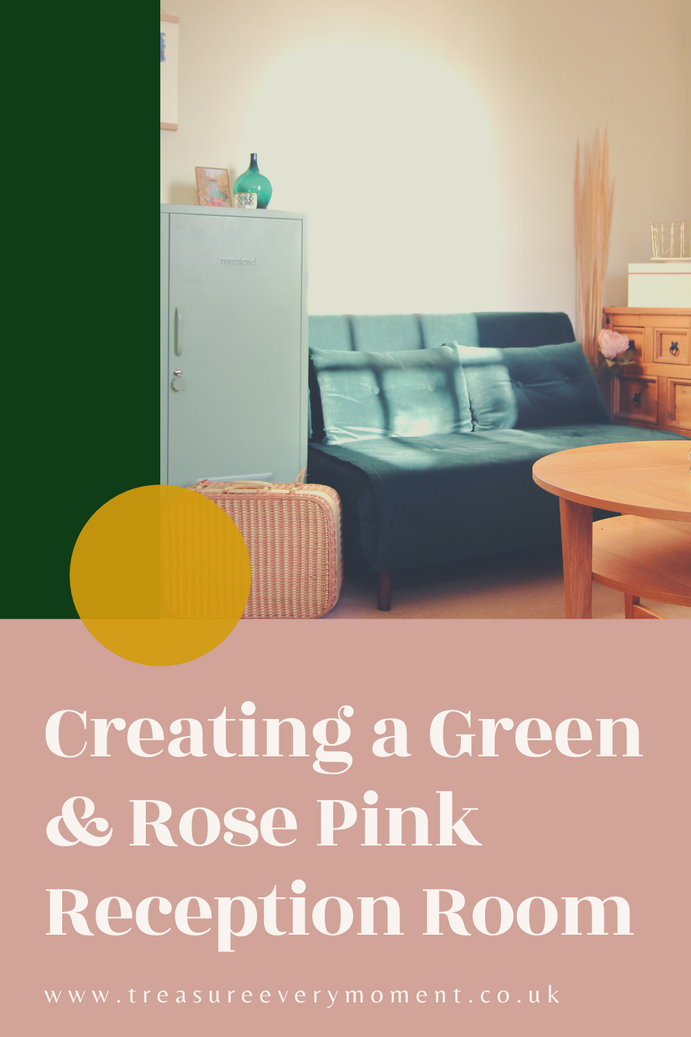 Creating a Family-Friendly Green & Rose Pink Reception Room