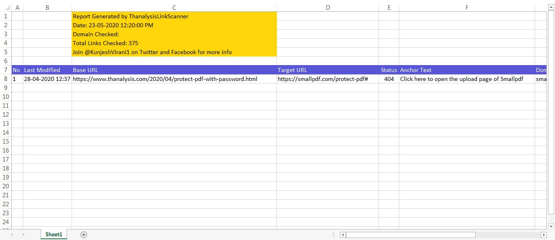 Excel exported data of broken links