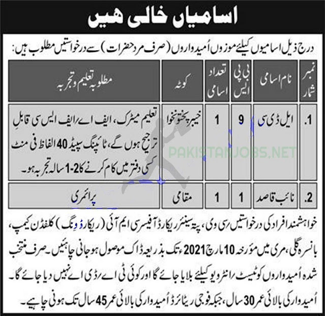 Pakistan Army Jobs in CMI Record Wing Clifden Camp March 2021