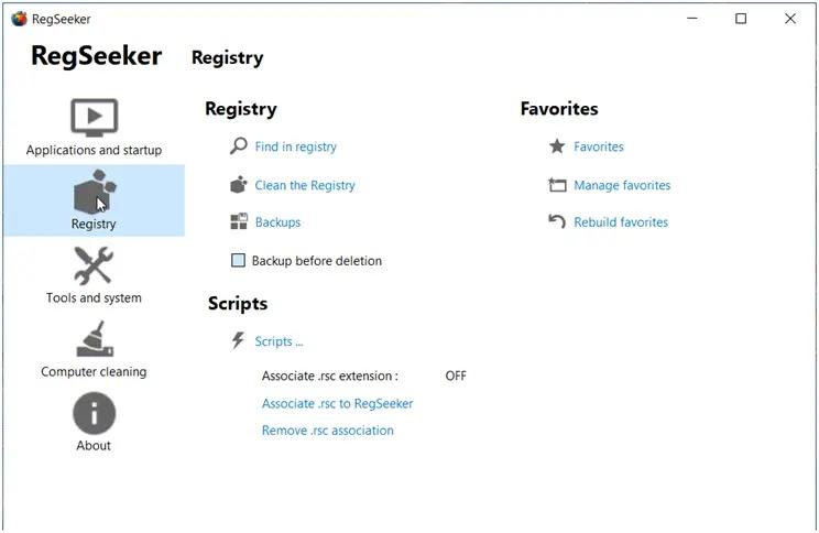RegSeeker:  Καθαρίστε  τα κατάλοιπα απεγκατάστασης εφαρμογών
