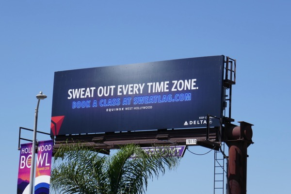 Sweat out every time zone Delta Equinox Sweatlag billboard