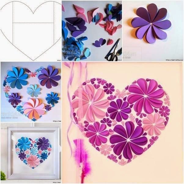 DIY Easy Paper Heart Flower Wall Art - DIY Craft Projects