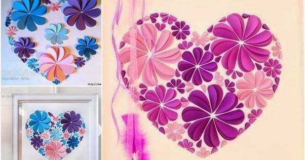 Diy Easy Paper Heart Flower Wall Art Diy Craft Projects