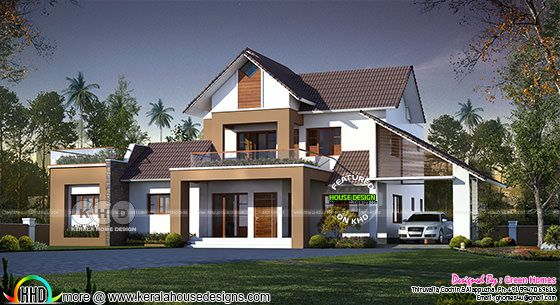 2750 square feet 4 bedroom sloping roof mix home