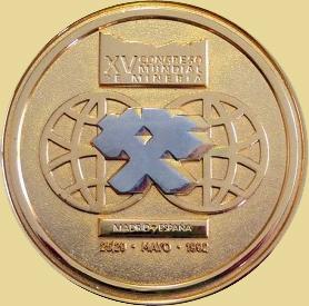 Medalla del Congreso Internacional de Minería Madrid 1992