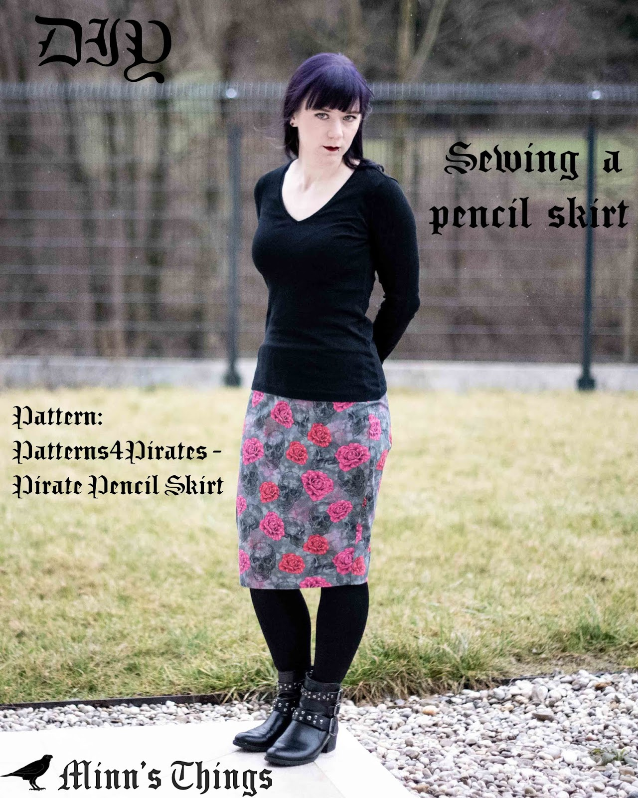 Patterns 4 Pirates Sewing Pattern Pirate Pencil Skirt Skulls'n'Roses by Minn's Things