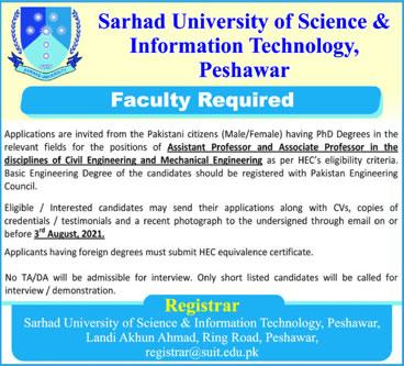 suit.edu.pk Jobs 2021 - Sarhad University of Science and Information Technology Peshawar Jobs 2021 in Pakistan