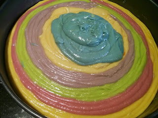 layered colours cake mix
