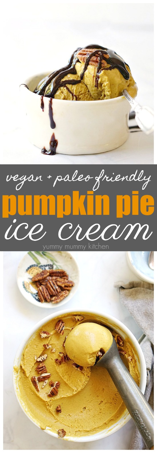 This vegan pumpkin ice cream recipe is made with coconut milk and makes a delicious fall dessert.