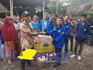 Pengurus Komisariat PMII Universitas Mataram menyalurkan Bantuan Gempa Lombok Timur