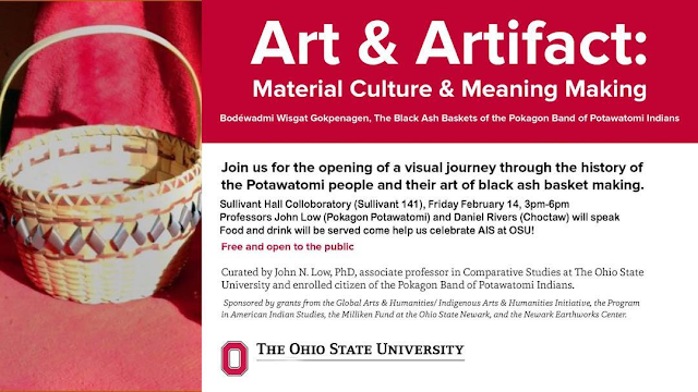 Art and Artifact Material Culture and Meaning Making Exhibit Opening Flyer. Image courtesy of NativeOSU.