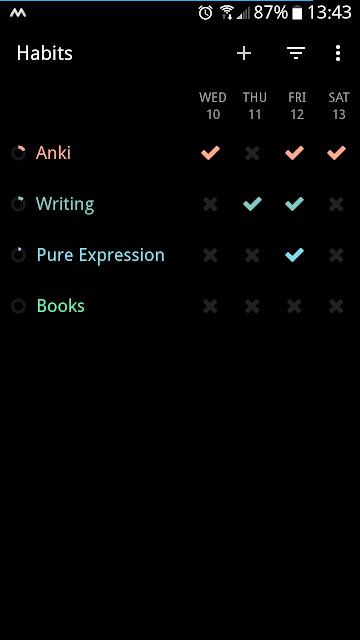 Loop Habit Tracker - main screen.