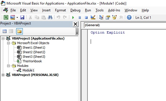 New module in the VBA project